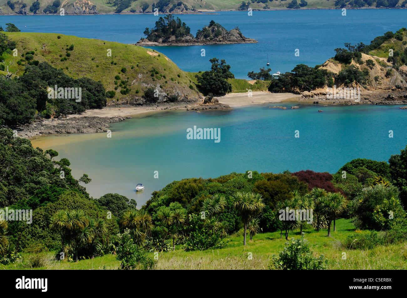 Cove on Rakino Island Hauraki Gulf Auckland New Zealand - Stock Image