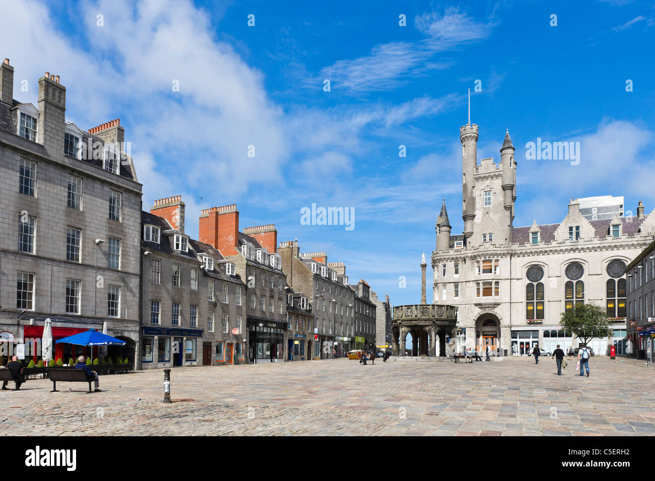 Castlegate in the city centre, Aberdeen, Scotland, UK - Stock Image