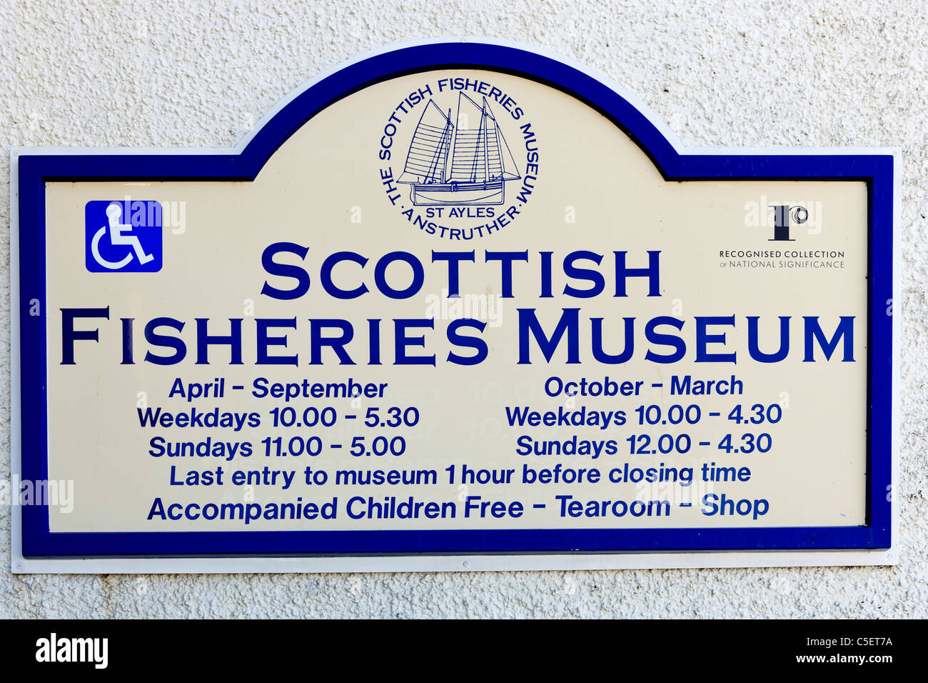 Sign for the Scottish Fisheries Museum, Anstruther, East Neuk, Fife, Scotland, UK - Stock Image
