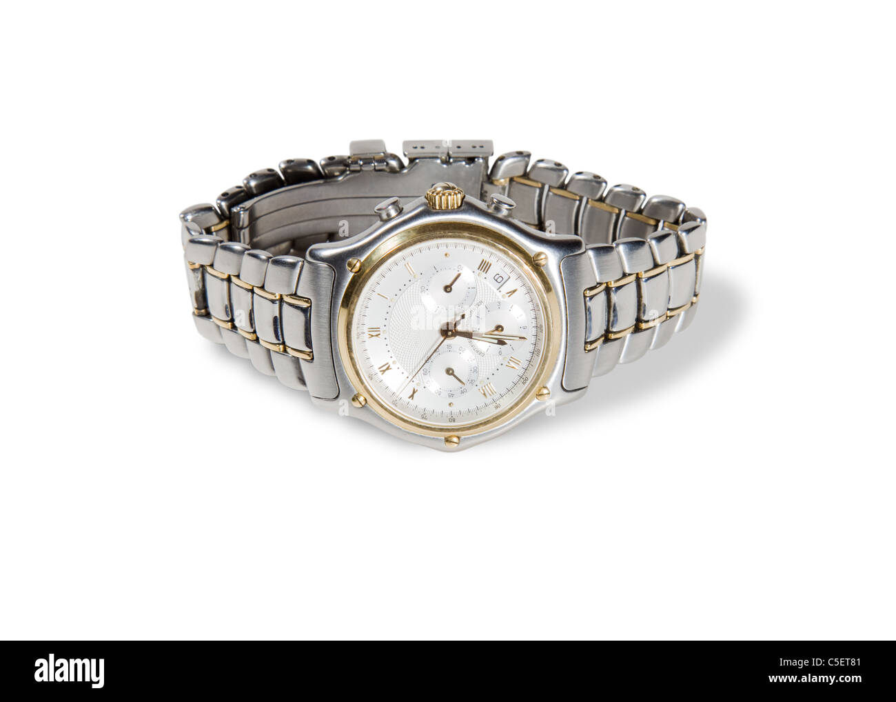 detailed shot of a mans chronograph watch - Stock Image