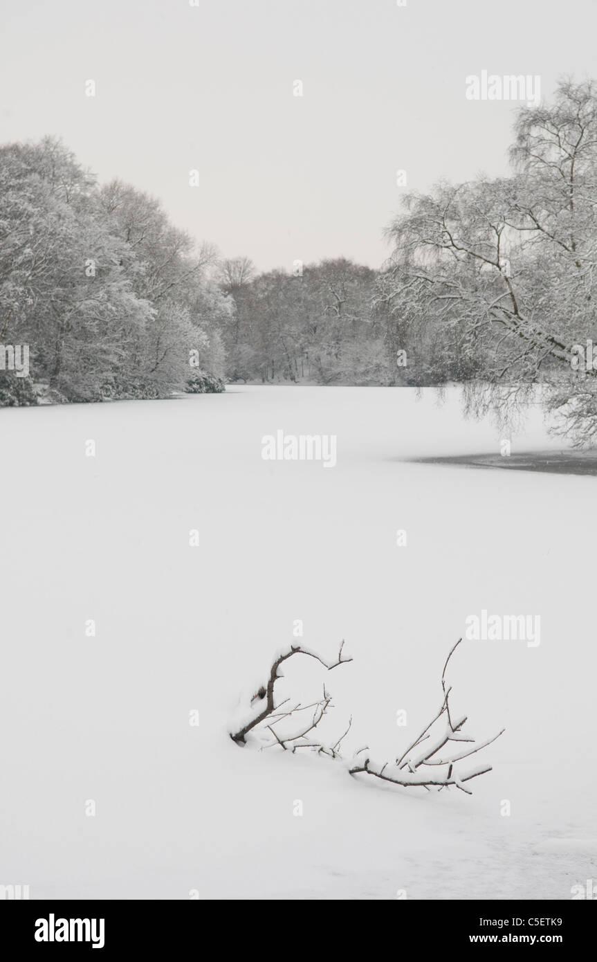 Frozen lake in winter landscape - Stock Image