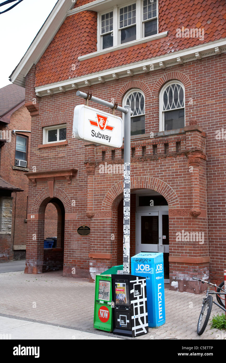 spadina ttc subway station kendal ave entrance which is a house toronto ontario canada - Stock Image