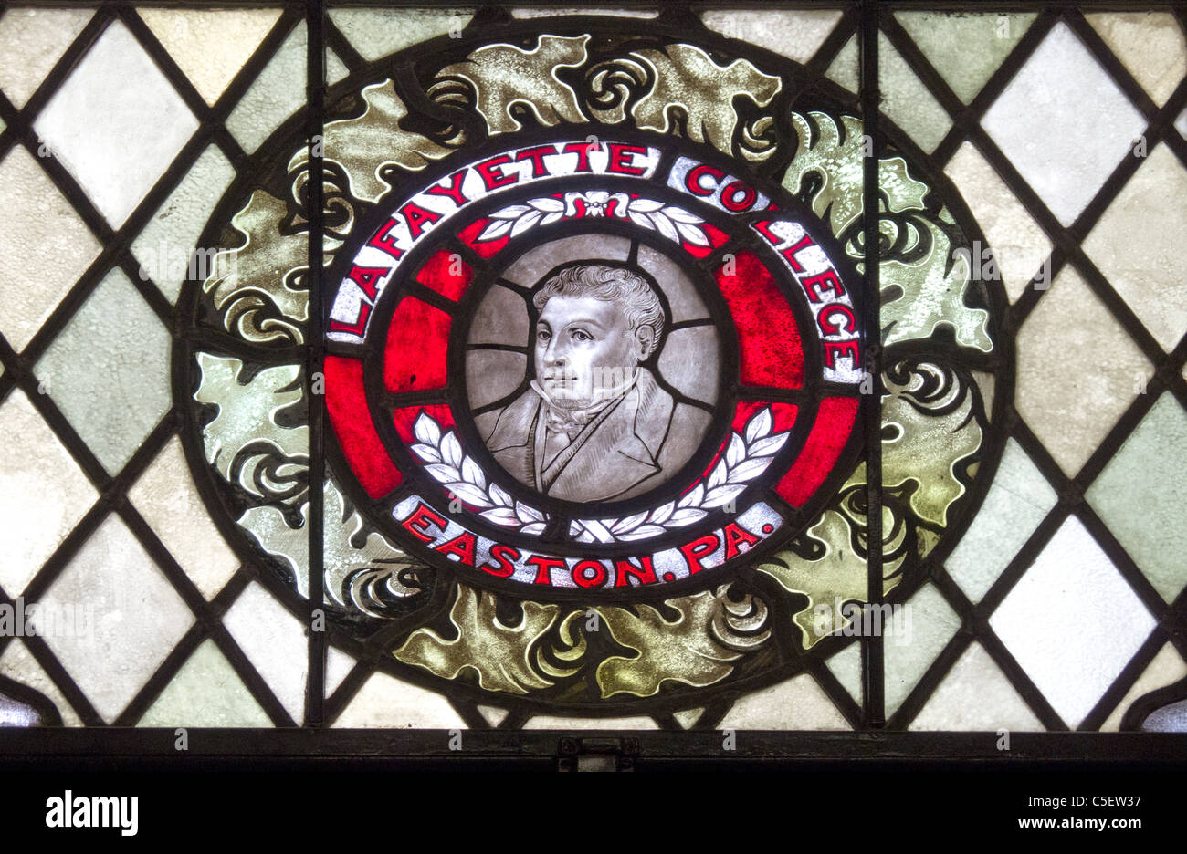 Lafayette College stained glass window - Stock Image