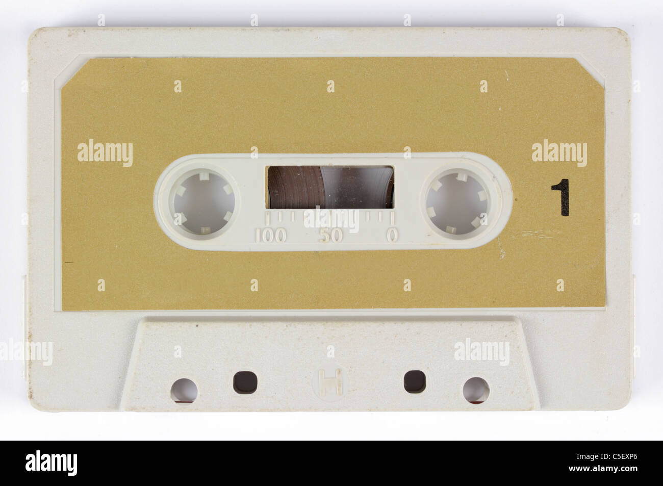 close-up of a music cassette - Stock Image