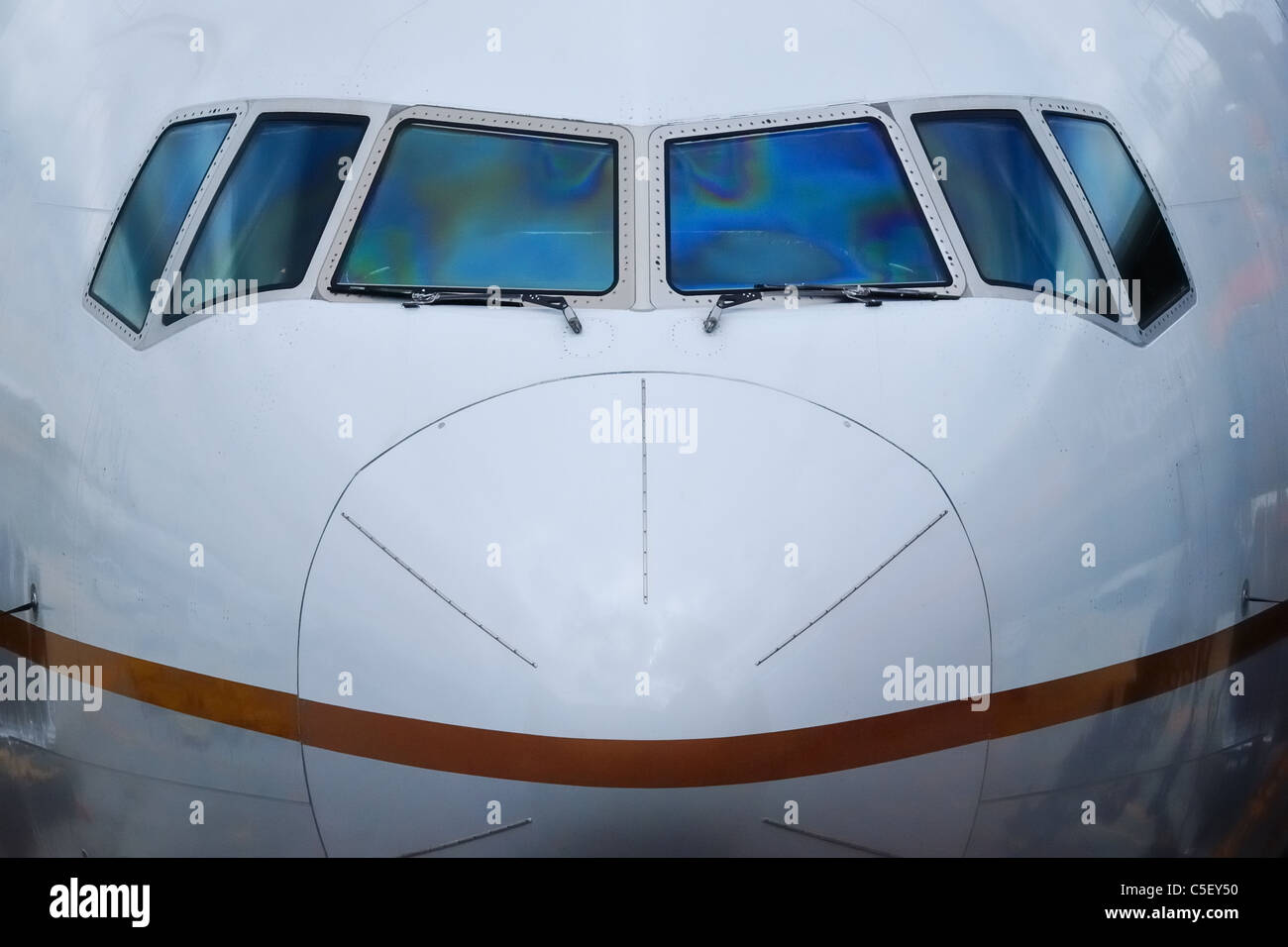 Nosecone and front screen of large aircraft - Stock Image