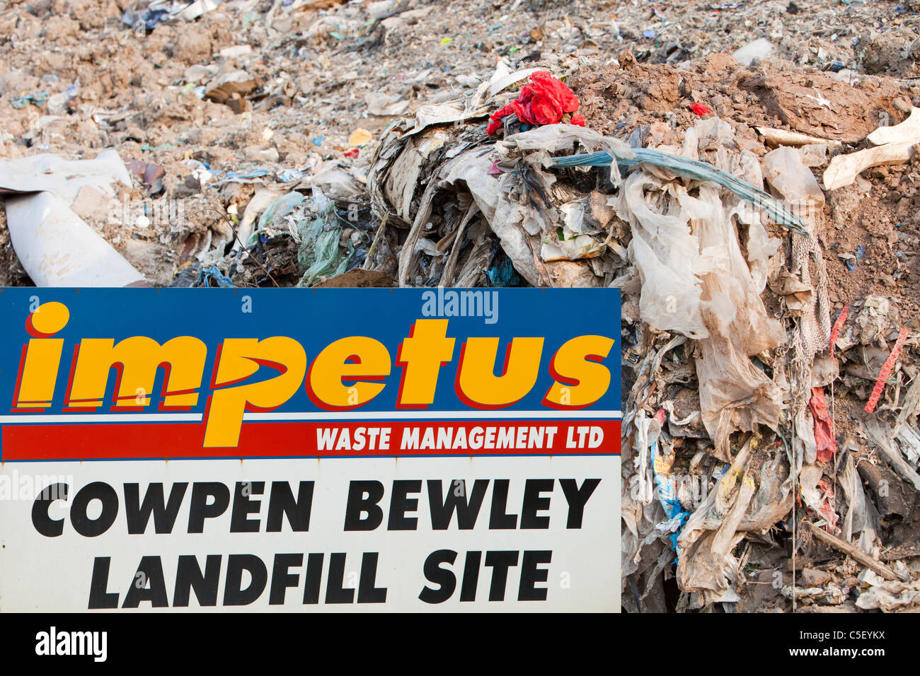 Plastic rubbish in a landfill site on Teeside, UK. It is increasingly expensive to landfill rubbish - Stock Image