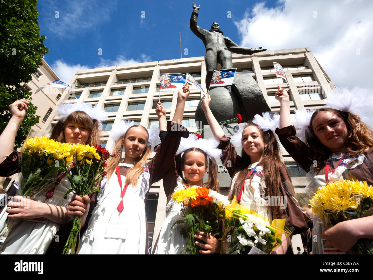 Russian girls from the Russian International Theatre School at unveiling ceremony of a Yuri Gagarin statue in the - Stock Image