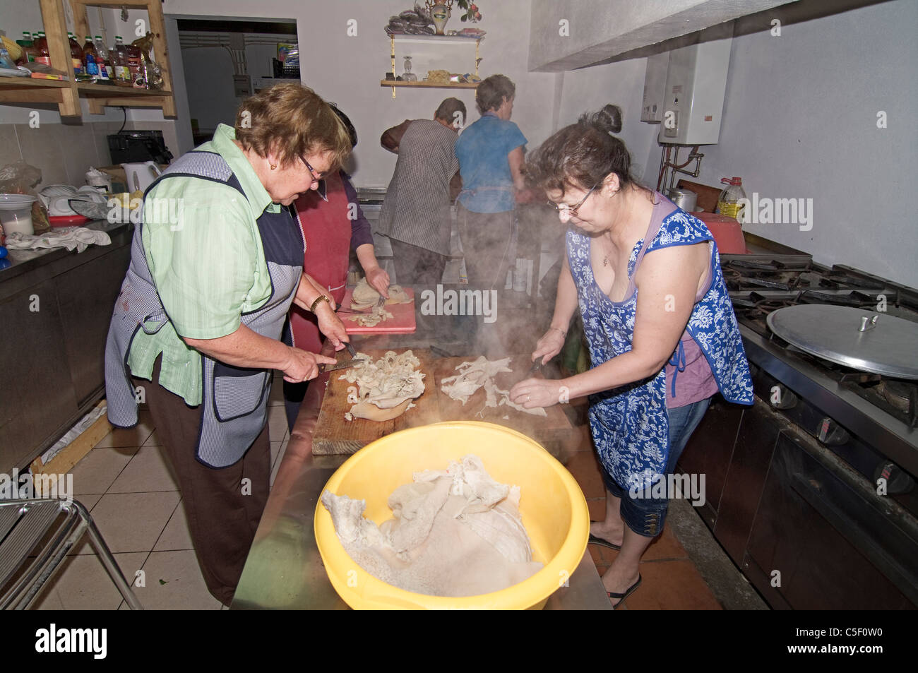 Holy ghost festivities at Flores island. Preparation of food. - Stock Image