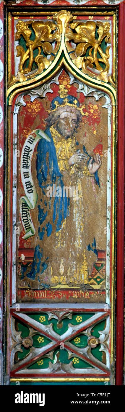 Thornham, Norfolk, Rood Screen, Prophet Amos screens painting paintings painted panel panels prophets England UK - Stock Image