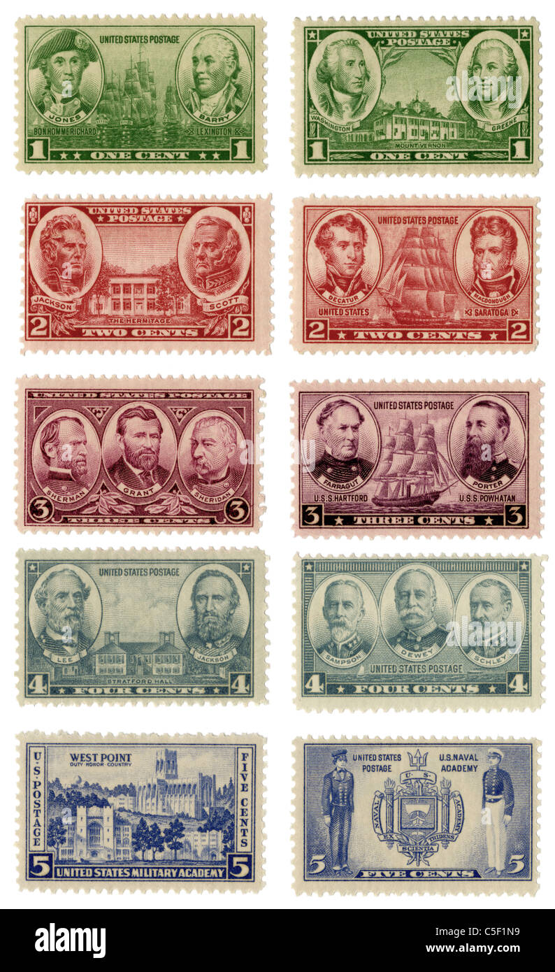 1935-1939 commemorative US postage stamps for the Army and Navy. - Stock Image