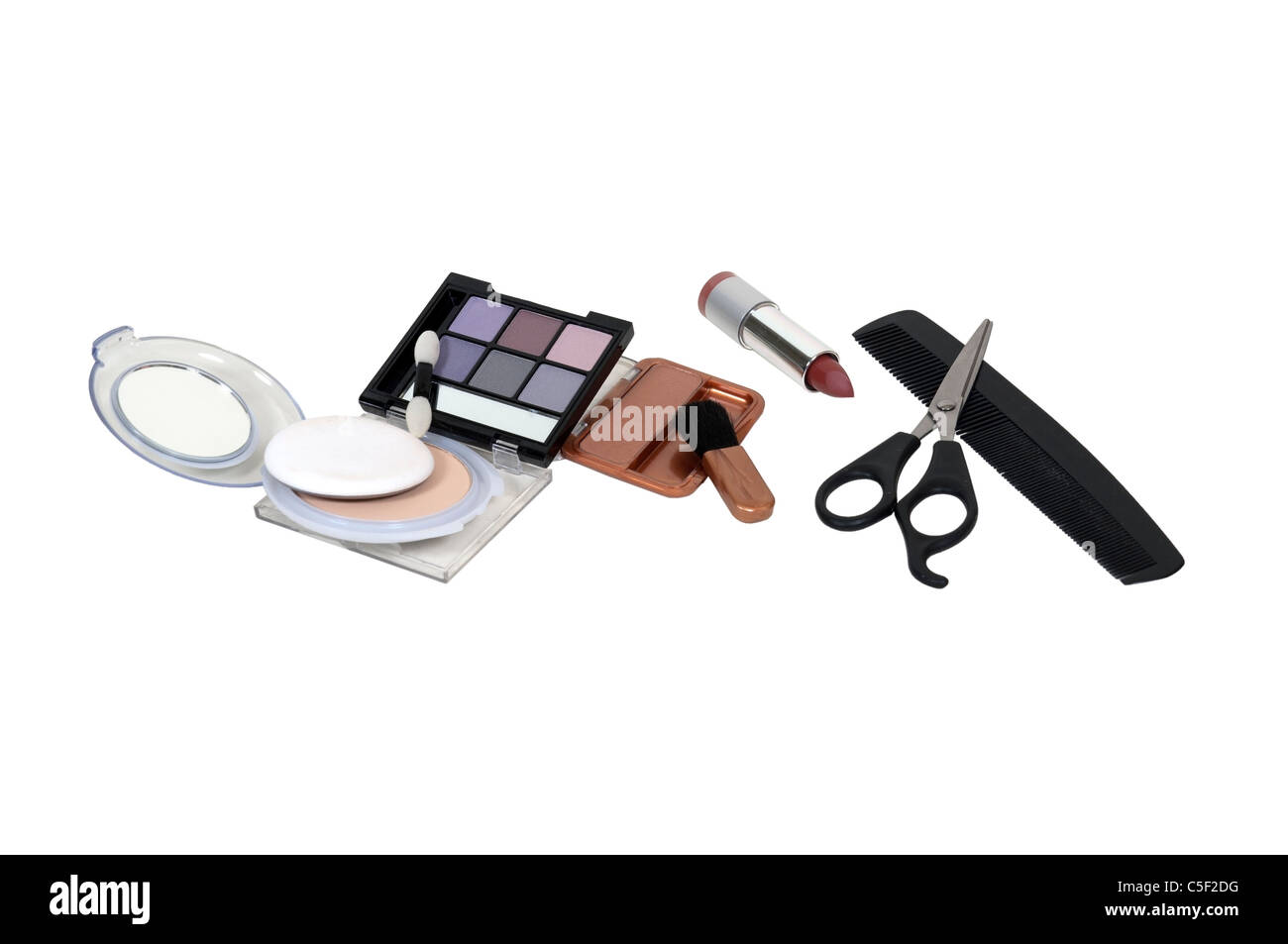 Enhance stock photos enhance stock images alamy a variety of makeup used for morning beauty rituals with a comb and scissors for a ccuart Gallery