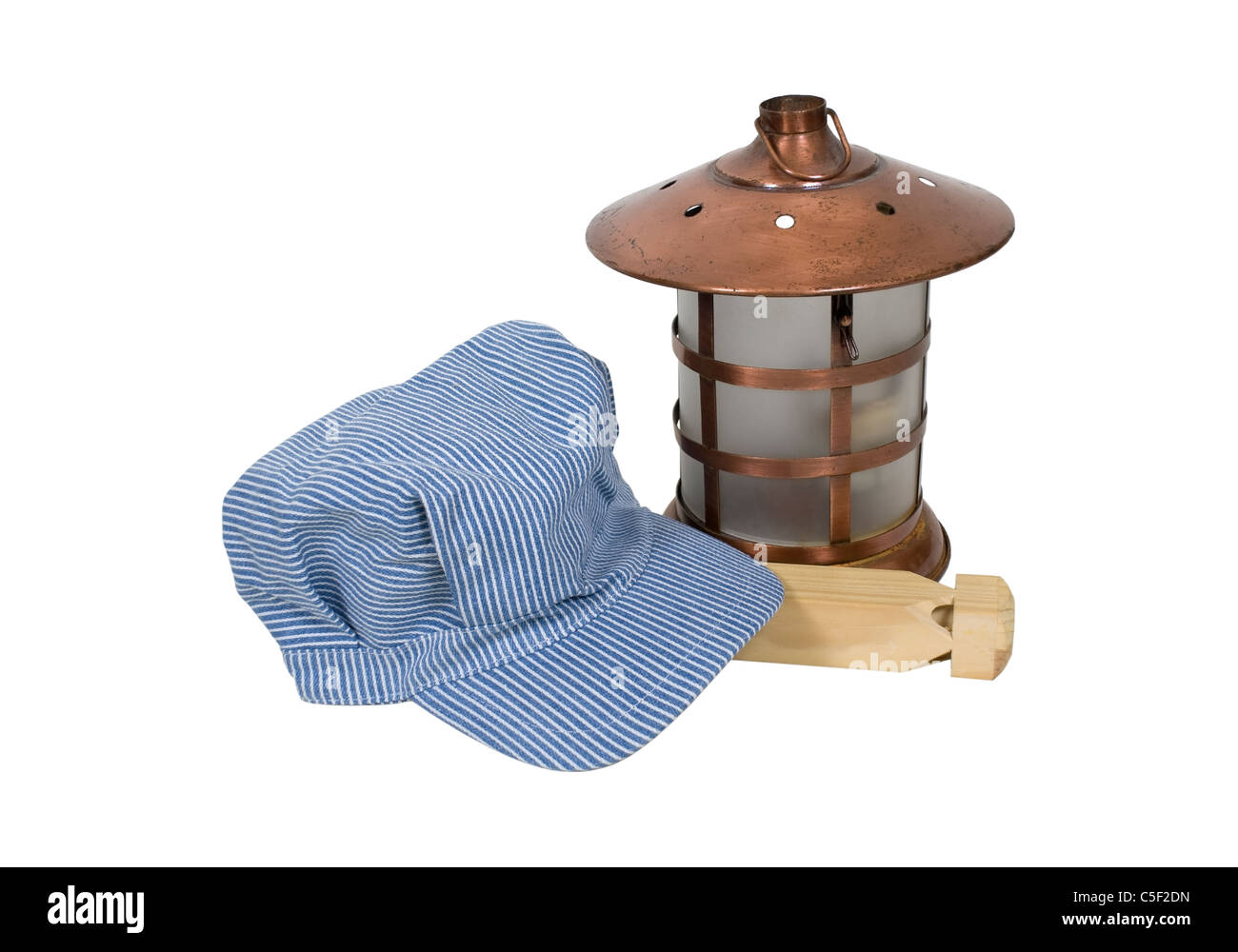 Traditional blue and white twill striped railroad engineer hat with a  lantern and train whistle - 767a806bf21b