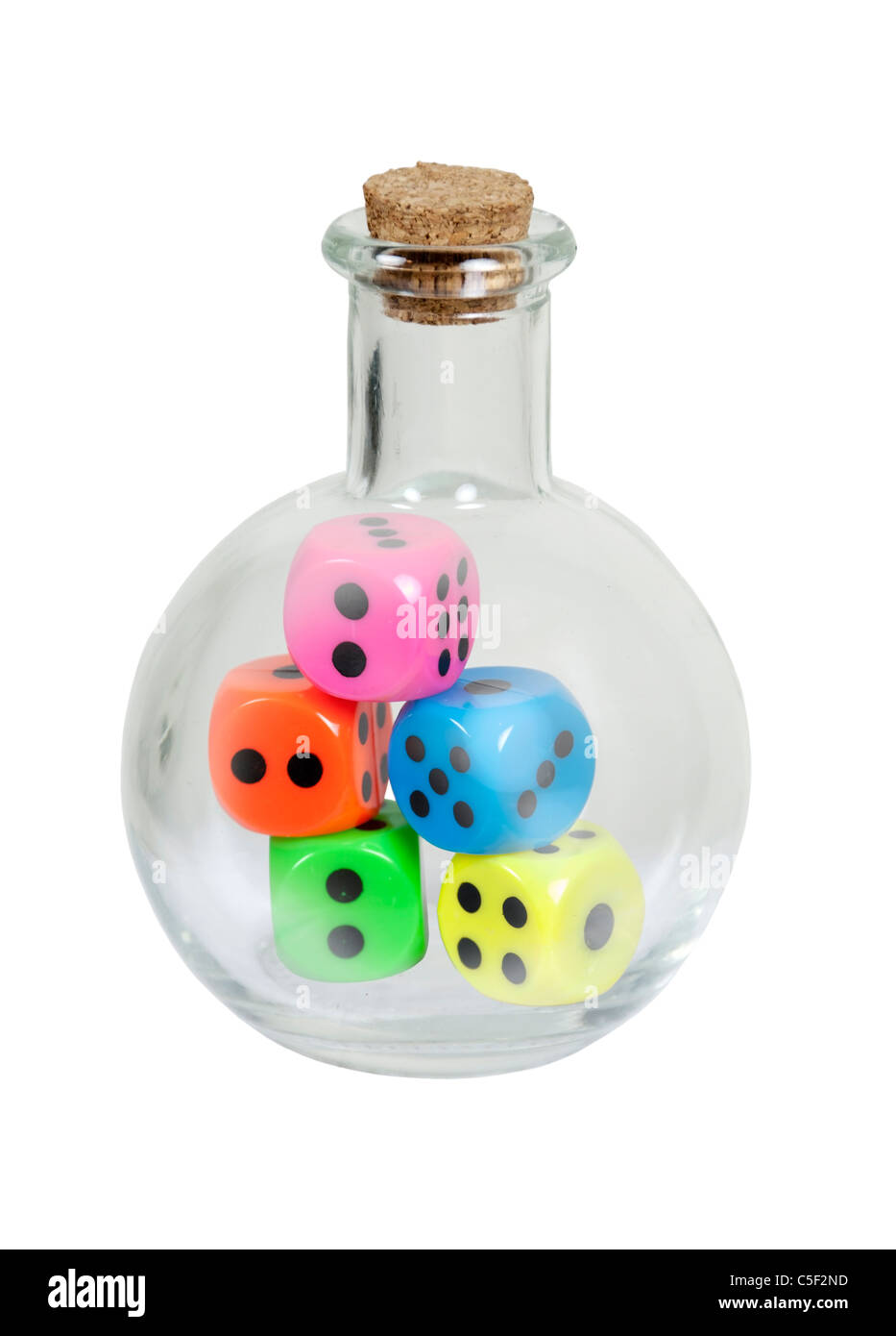 Bottle of chance shown by a round glass bottle with cork stopper with colorful dice of chance inside - path included - Stock Image