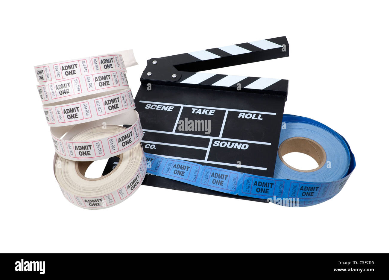 Movie time shown by roll of admission tickets and a movie marker board - path included - Stock Image