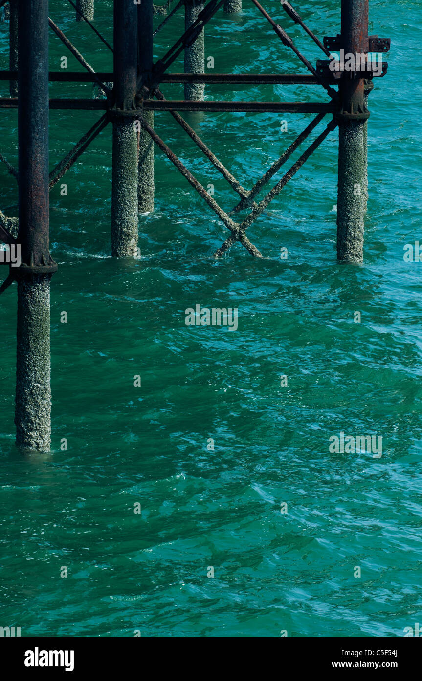Rusty metal wharf Wales UK - Stock Image