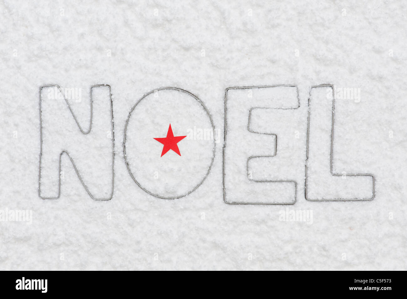 NOEL . Letters star and snow - Stock Image