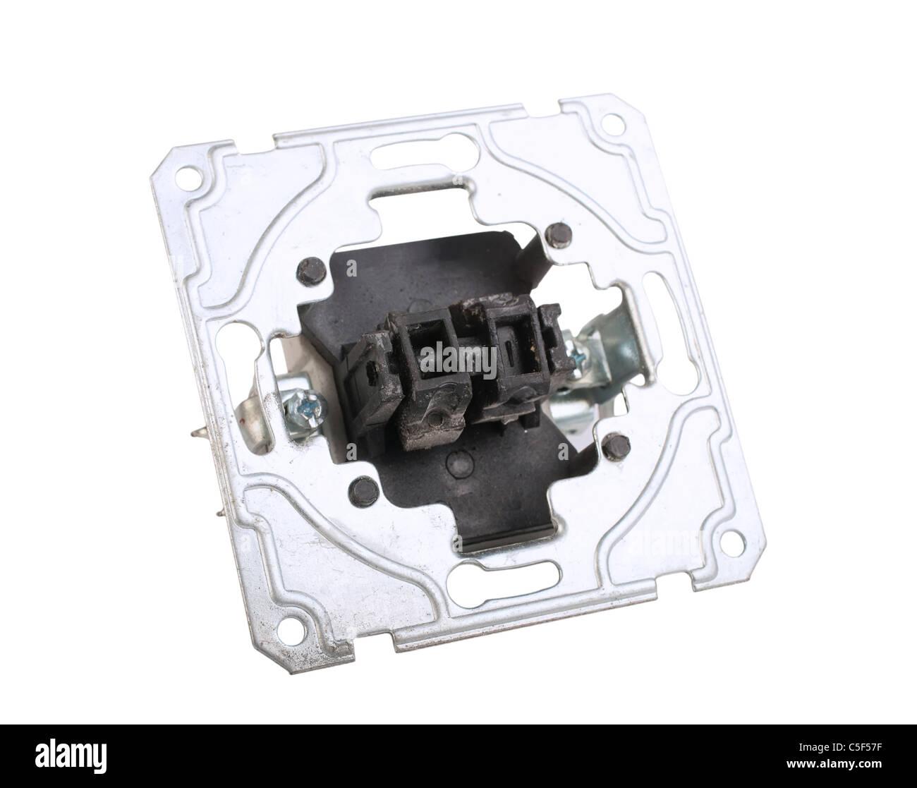 dismantled socket isolated on white background - Stock Image