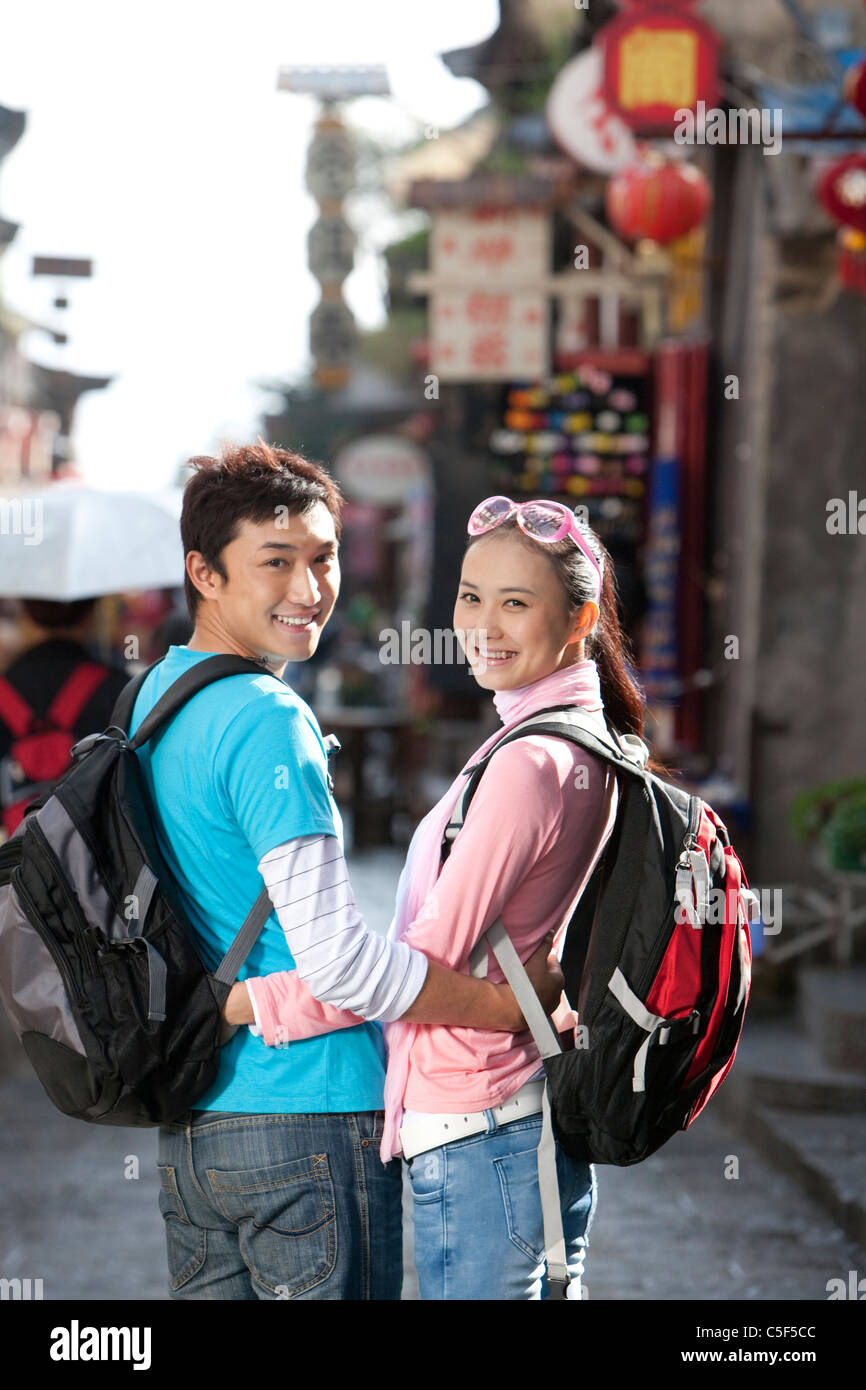 Young Couple Off Exploring, Dali - Stock Image