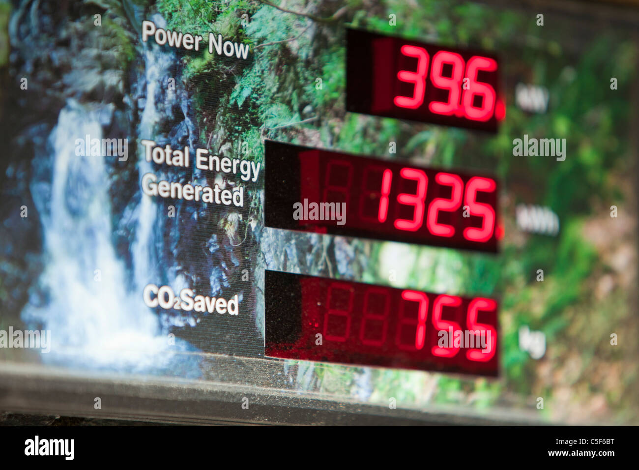 A display board showing the amount of renewable energy being generated by the micro hydro turbine in the grounds - Stock Image