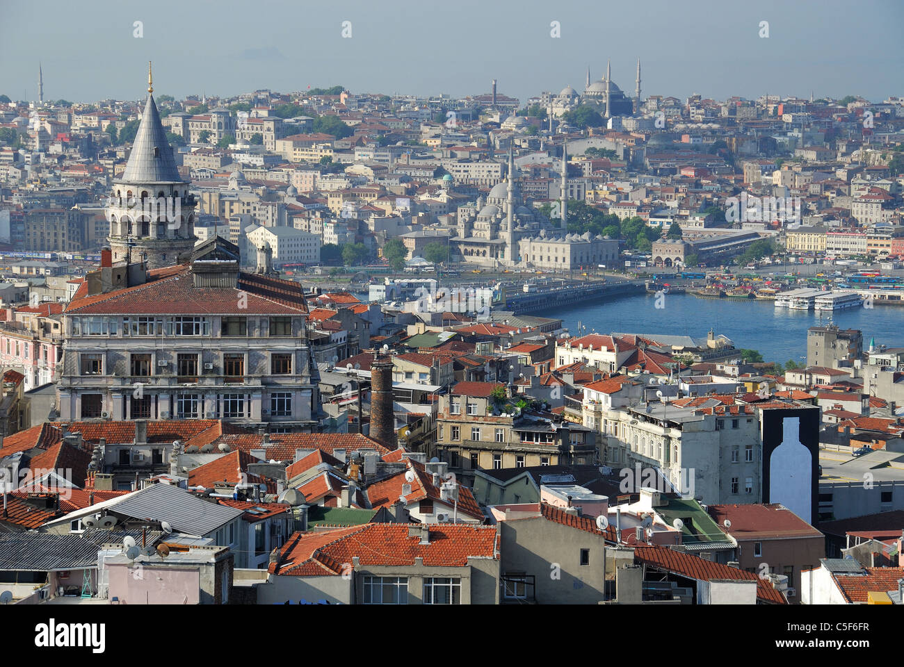 ISTANBUL, TURKEY. A view over Beyoglu district to the Golden Horn and the bazaar district of the city. 2011. - Stock Image