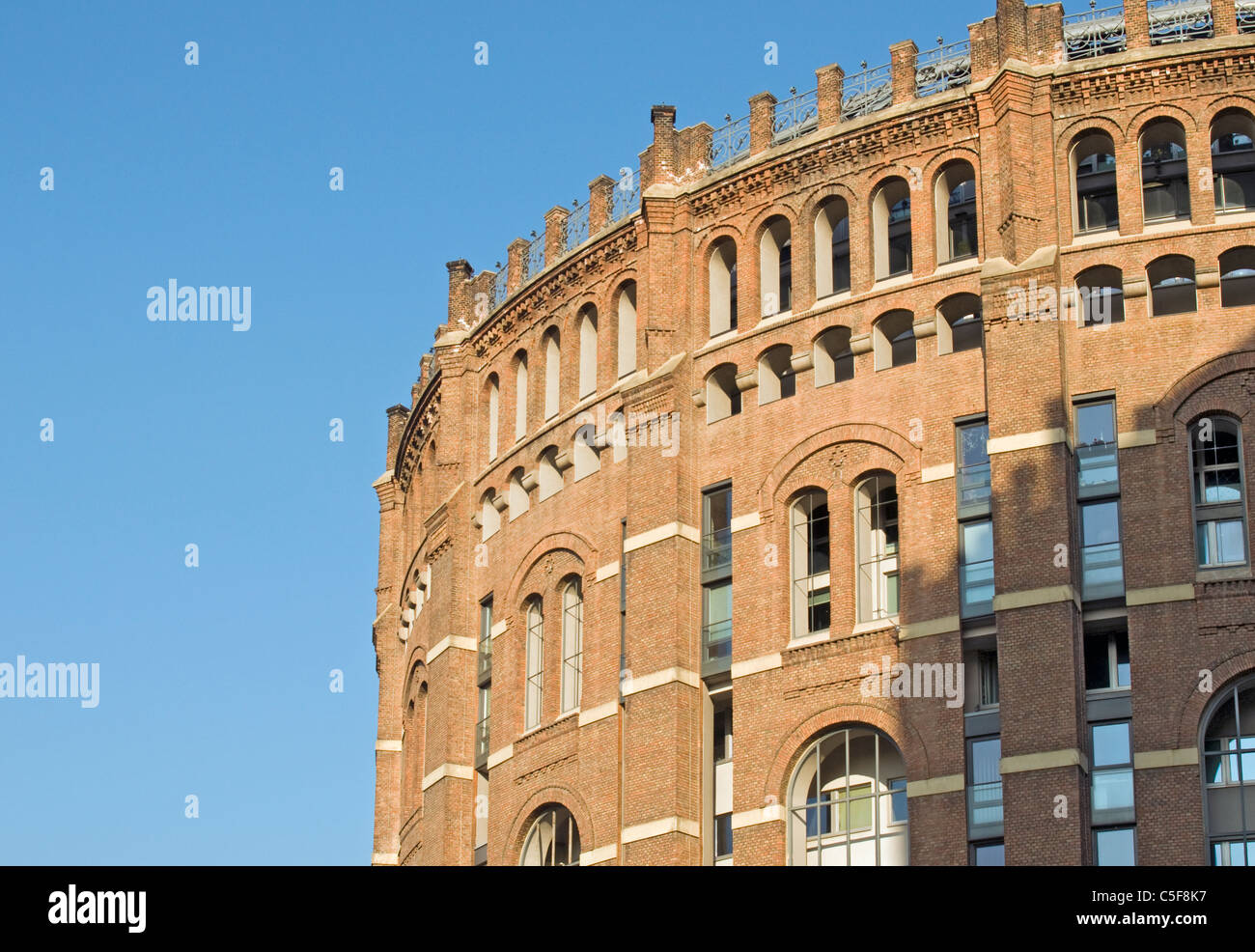 Detail of Facade of Renovated Building of Gasometer (Former Gas Tank), Simmering, Vienna (Wien), Austria - Stock Image