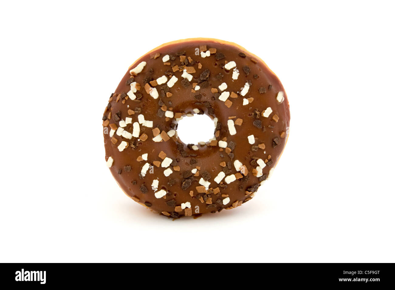Chocolate doughnut isolated over white - Stock Image