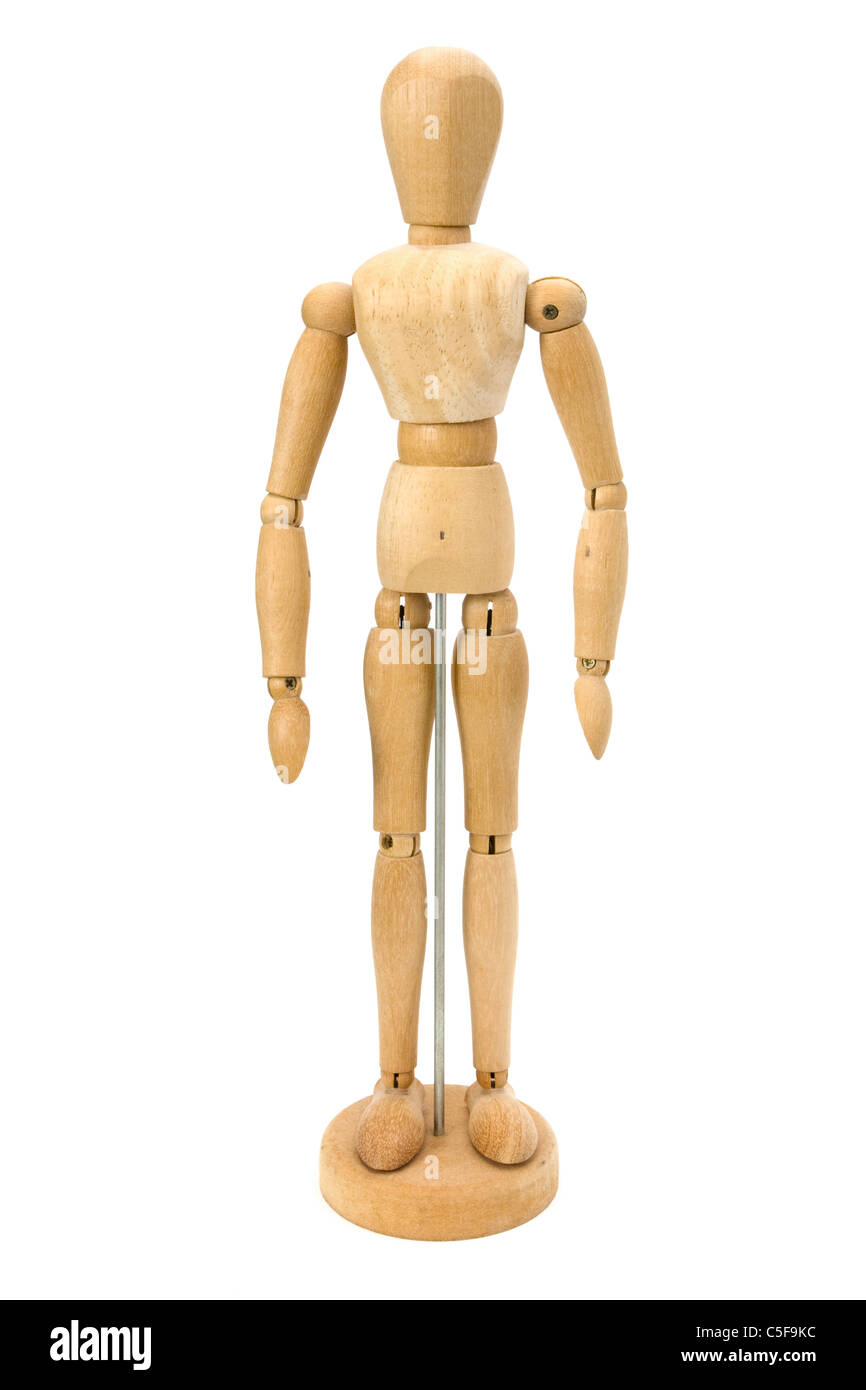 Wooden artists Mannequin over white - Stock Image