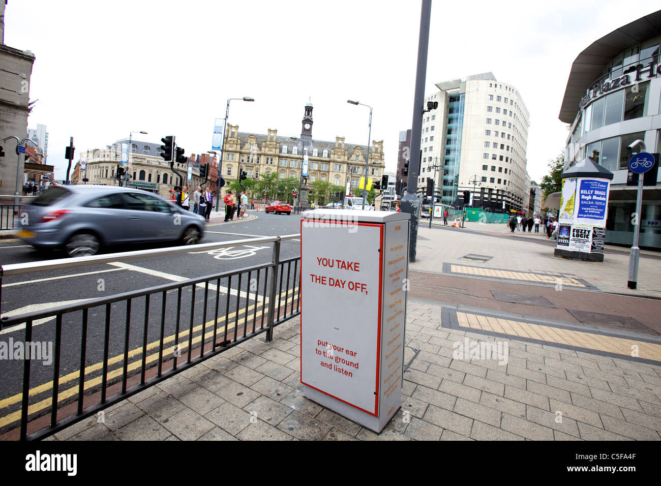 Junction boxes in Leeds, West Yorkshire, become works of art. Colliding with the Corner by Conway and Young Stock Photo