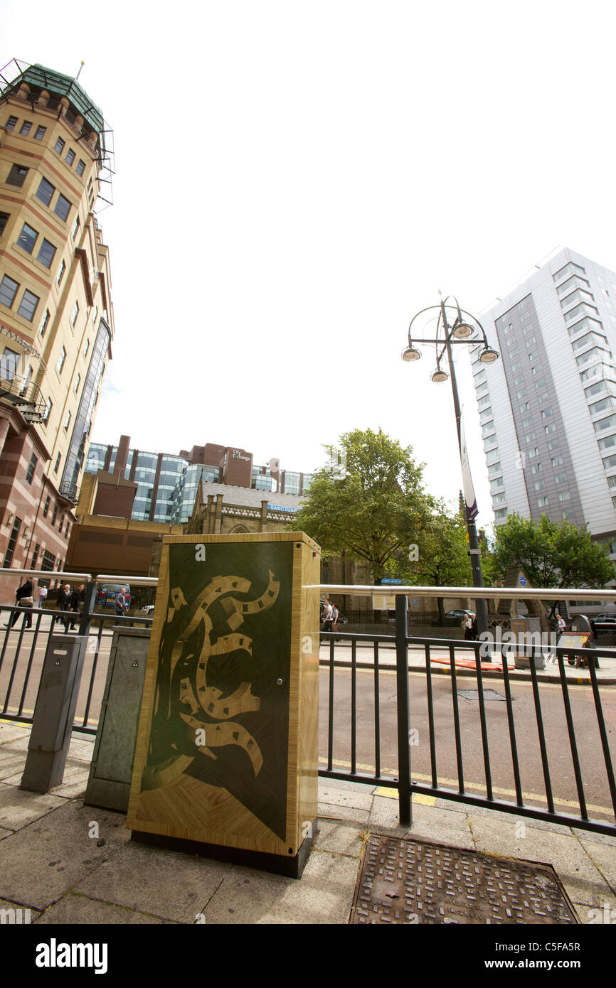 Junction boxes in Leeds, West Yorkshire, become works of art. Park Row Drawing by Nick Cass Stock Photo