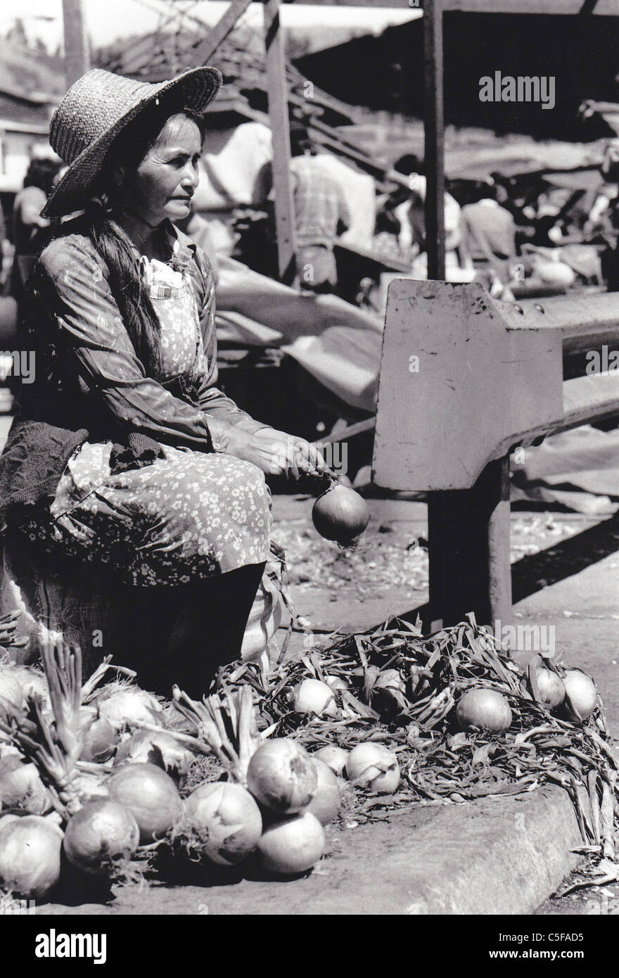 CHILE. Native Mapuche woman selling onions at the market place in the southern region of Temuco Stock Photo