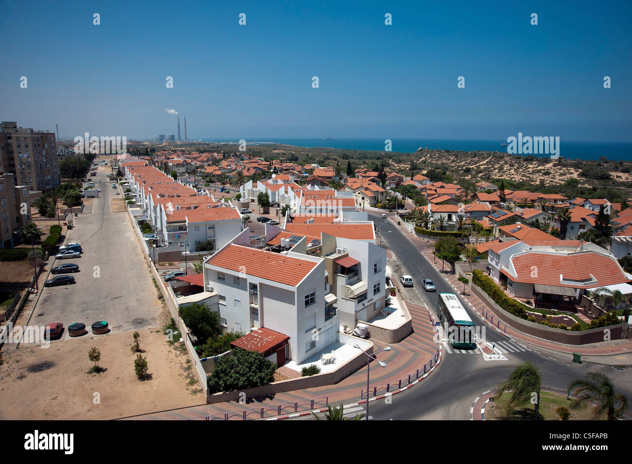 Elevated view of Ashkelon, Israel The power plant in the background - Stock Image