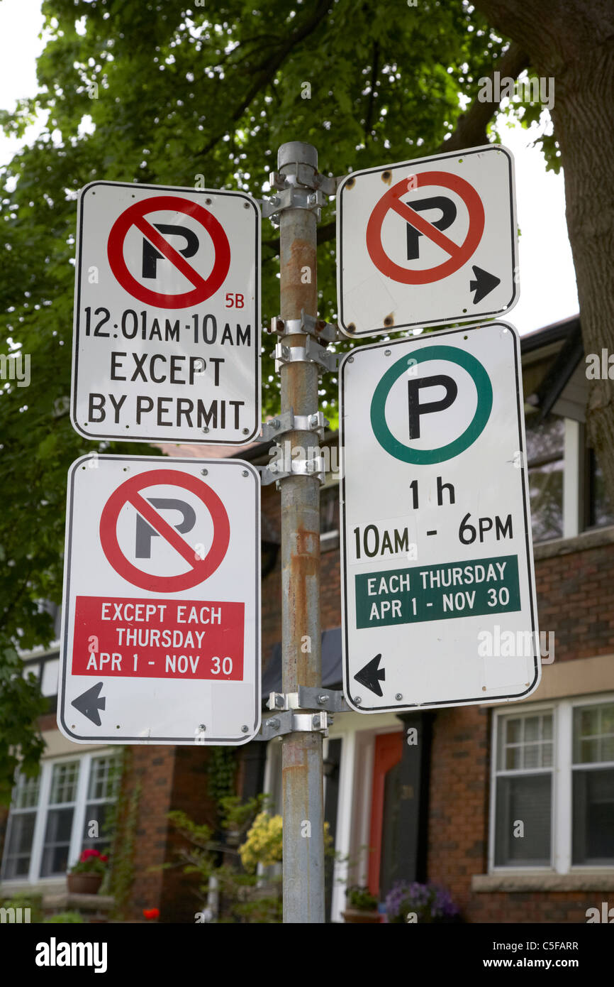 no parking and parking restrictions signs in a residential area toronto ontario canada - Stock Image