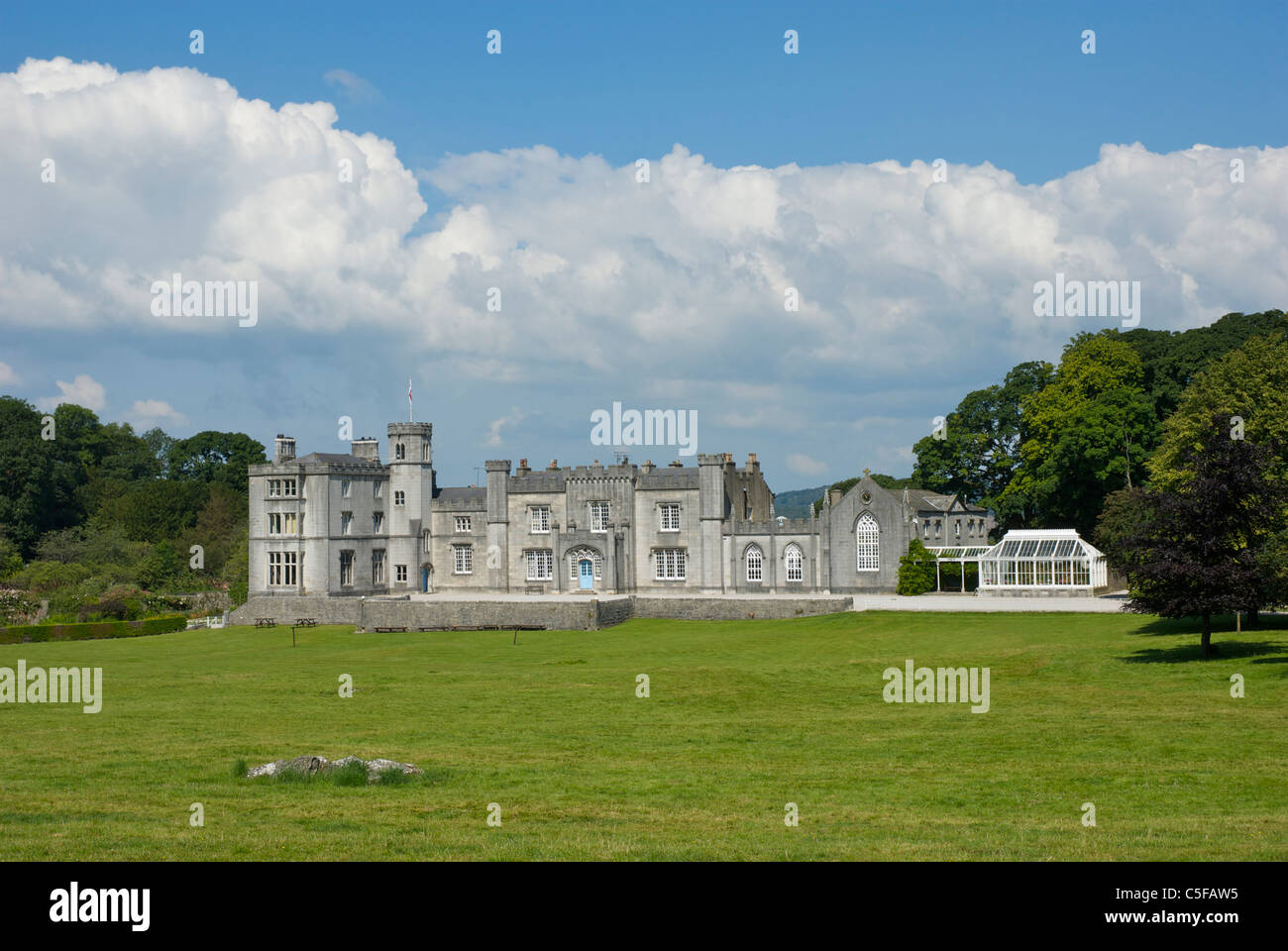 Leighton Hall, home of the Gillow family, near Carnforth, Lancashire, England UK. - Stock Image