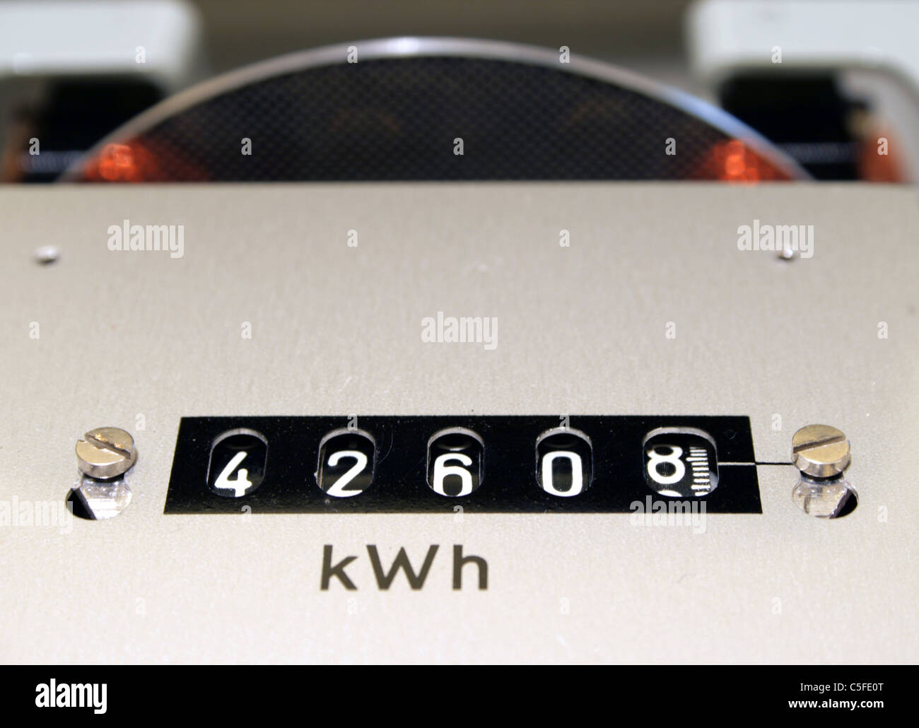 KWH counter close up - Stock Image