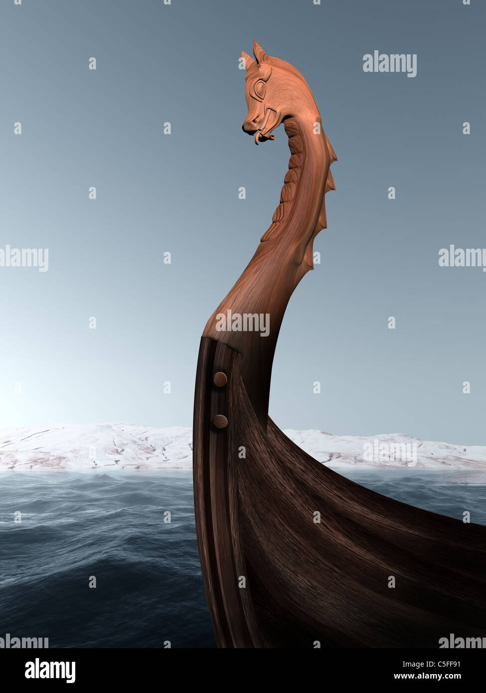 Illustration of an ancient wooden figurehead on a Viking longboat - Stock Image