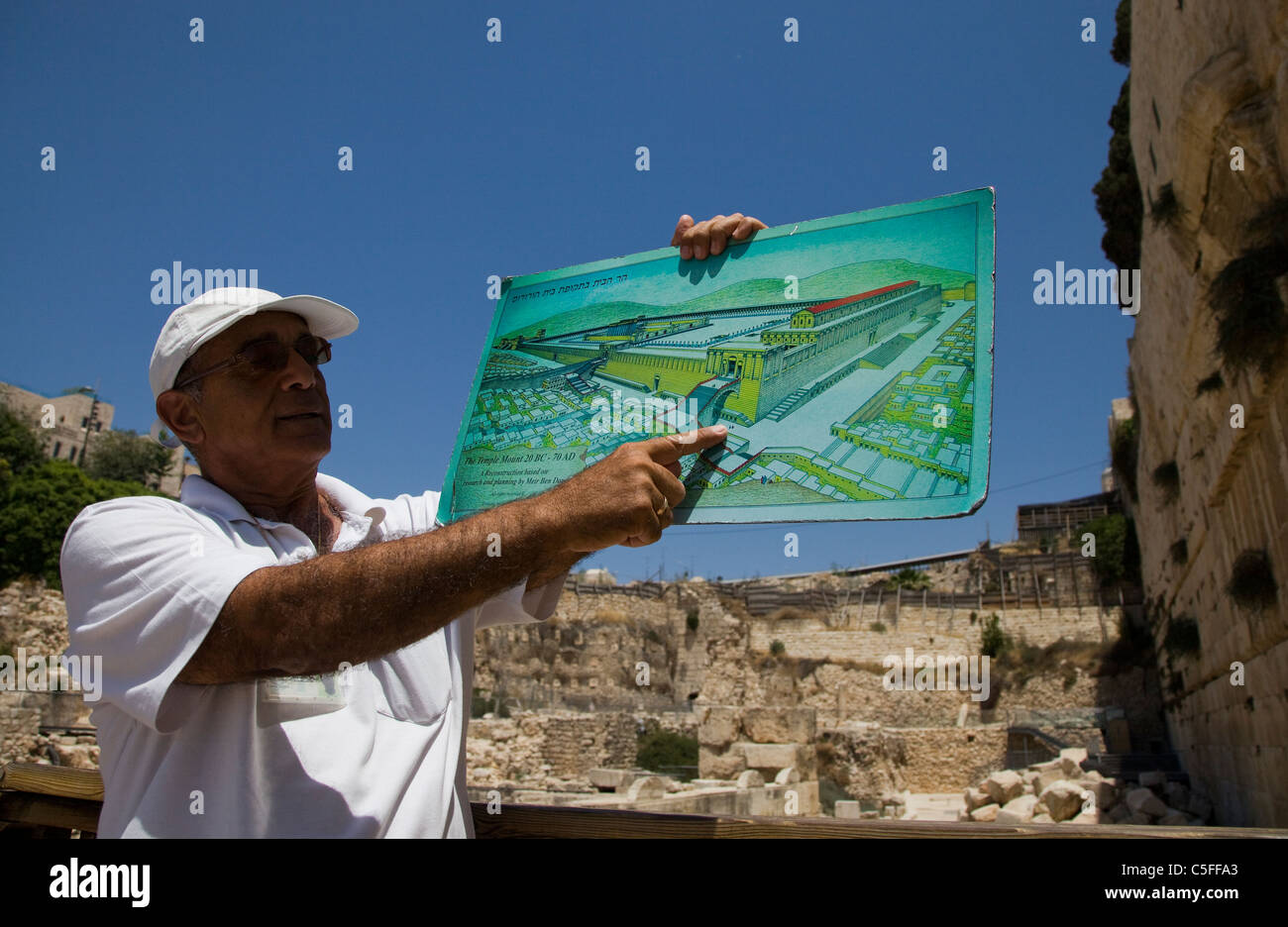 A Jewish guide tour holds a map depicting temple mount next ...