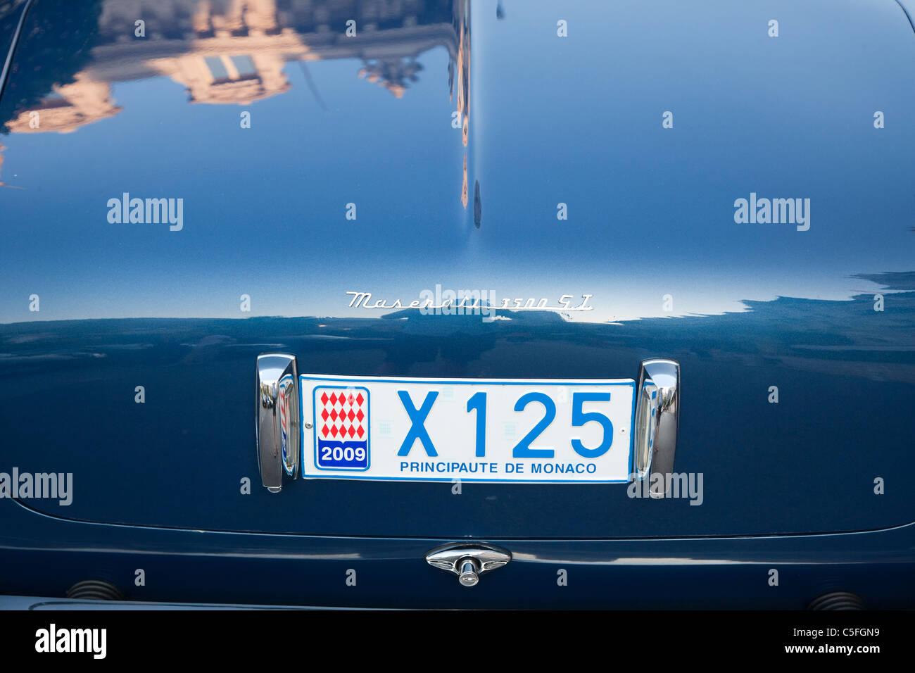 Maserati 3500 GT with Monaco licence plate, Monte Carlo, Monaco - Stock Image