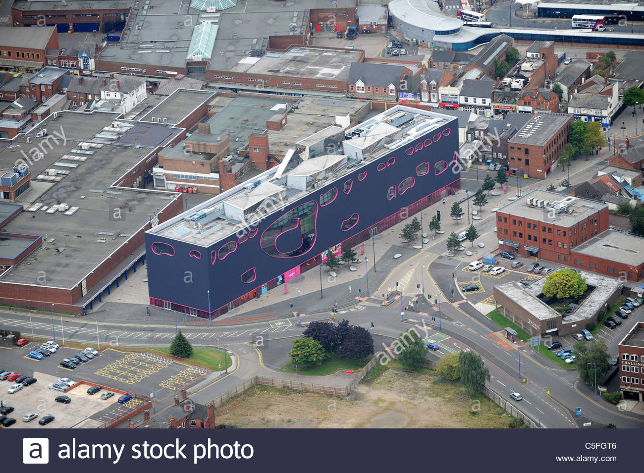 Aerial view of The Public building in West Bromwich Sandwell Uk - Stock Image