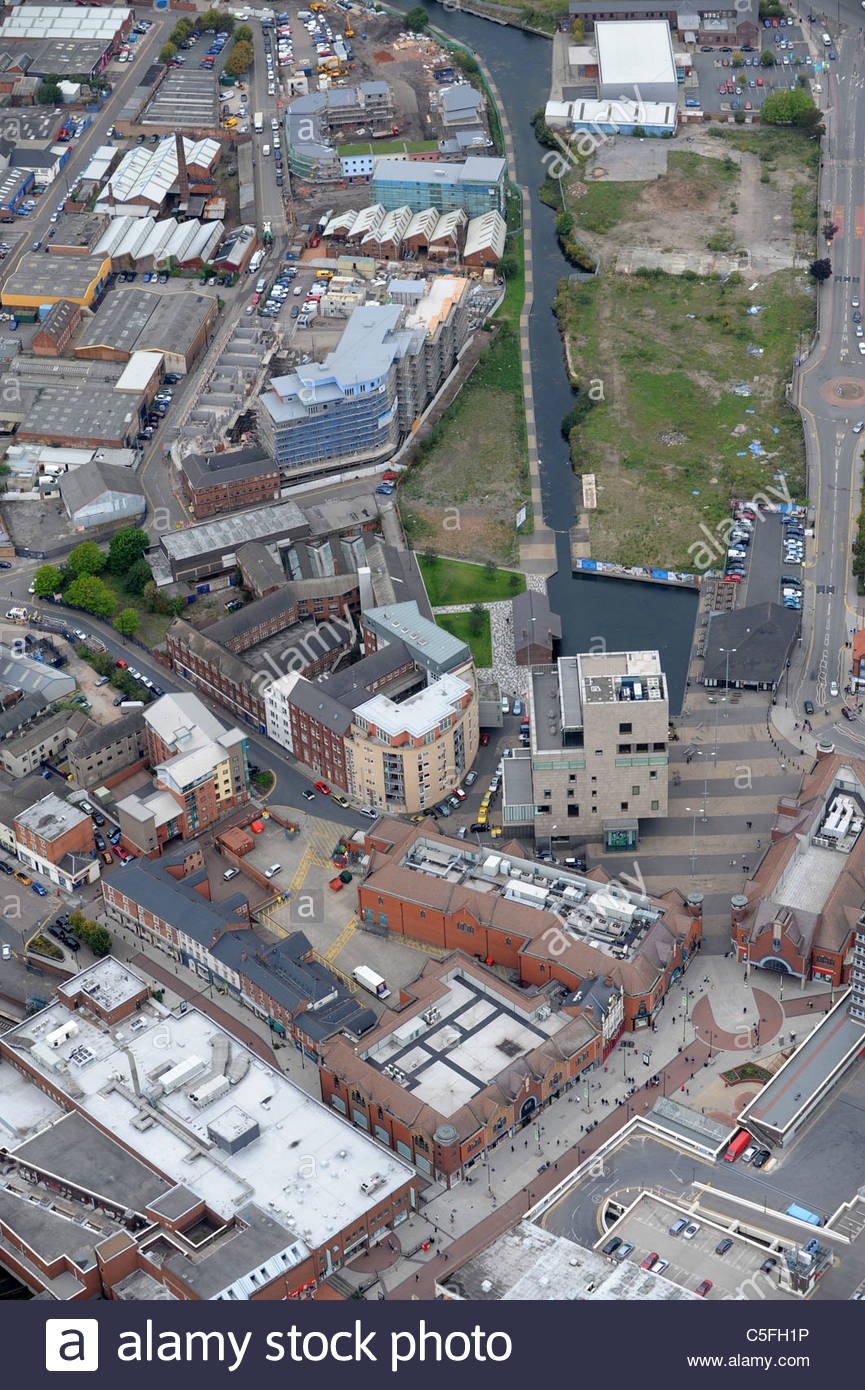Aerial view of Walsall Town centre Uk - Stock Image