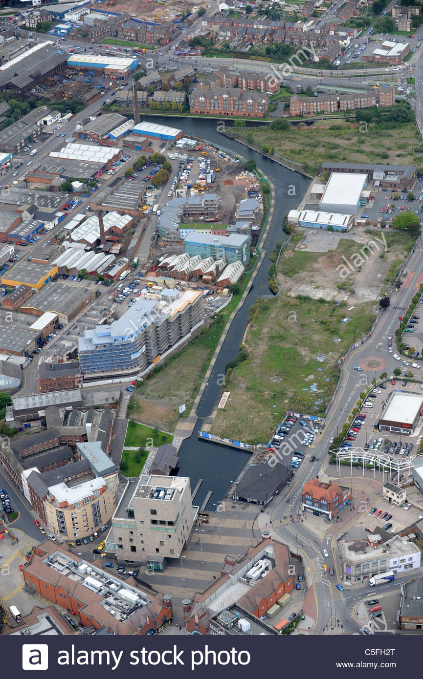 Aerial view of Walsall Town centre and canals Uk. New waterfront development along canal. - Stock Image