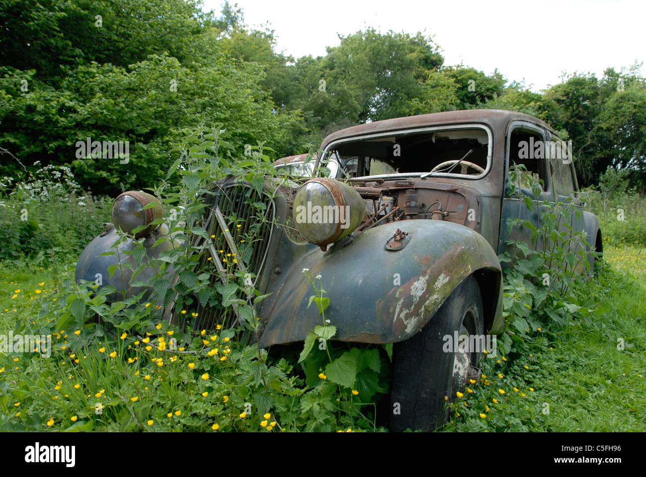 Old Abandoned Rusty Renault Car In Field Stock Photo