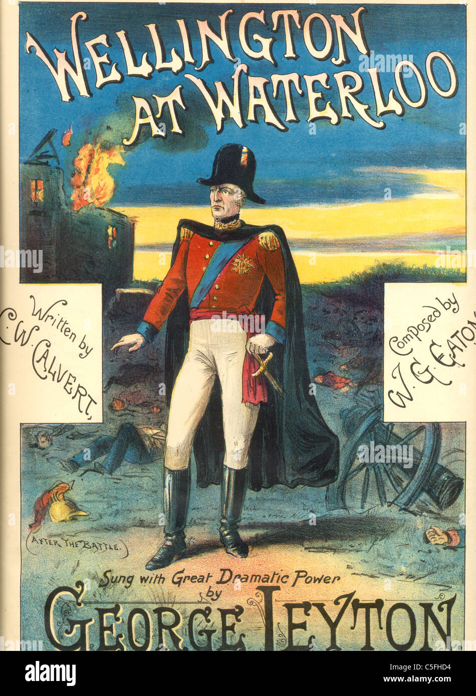 Music cover titled  Wellington at Waterloo - Stock Image