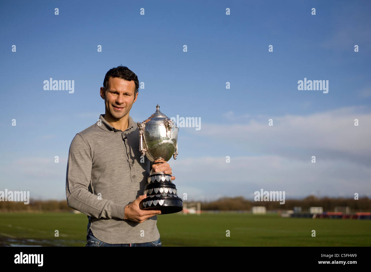Ryan Giggs with Welsh Sports Personality of the year award - Stock Image