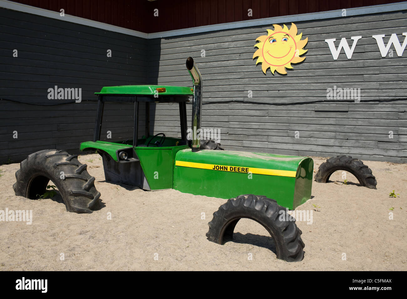 Humorous tractor decoration at Schoharie County fairgrounds, Cobleskill, New York State, USA - Stock Image