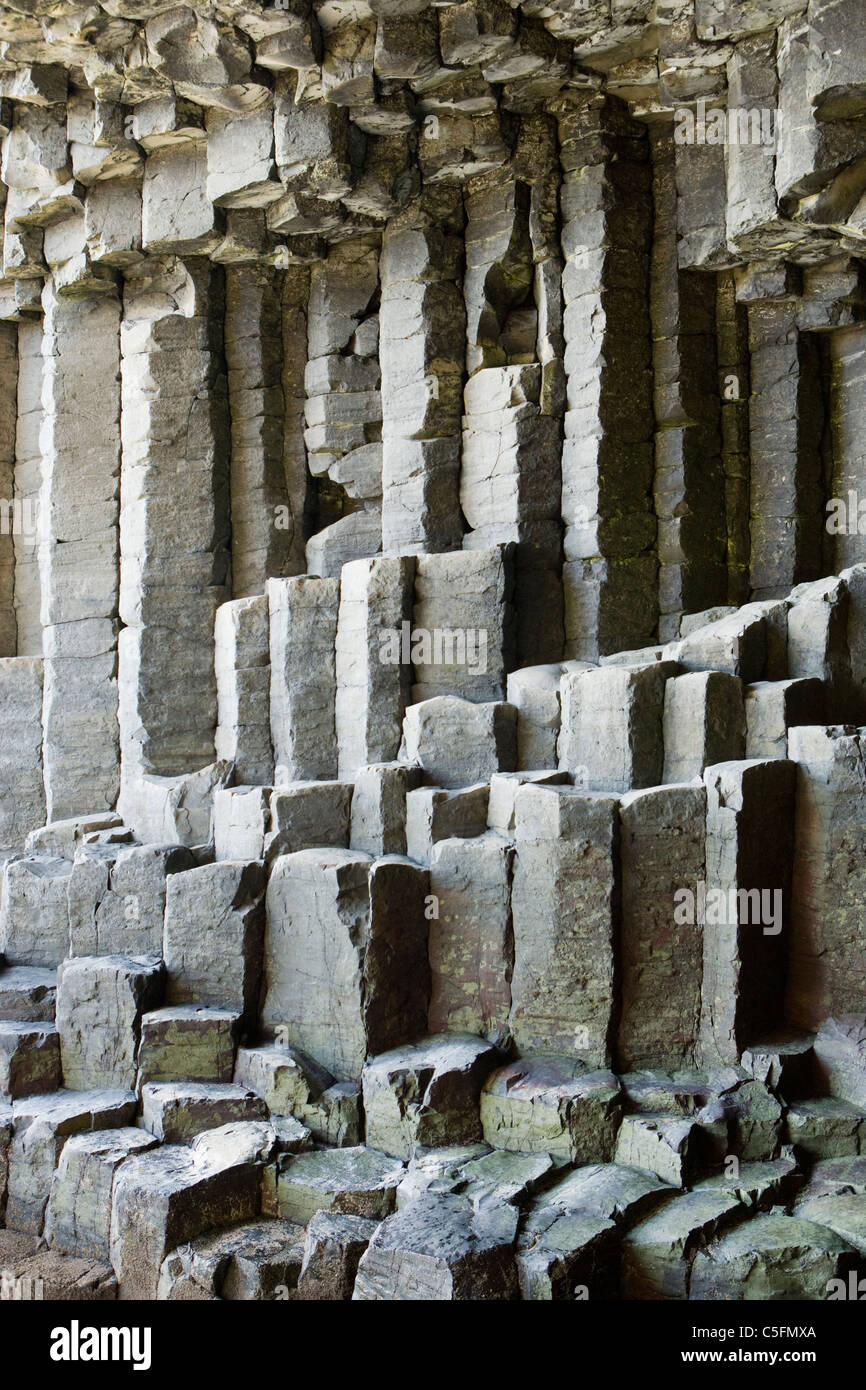 Basalt columns inside Fingal's Cave, Staffa, Scotland, UK - Stock Image