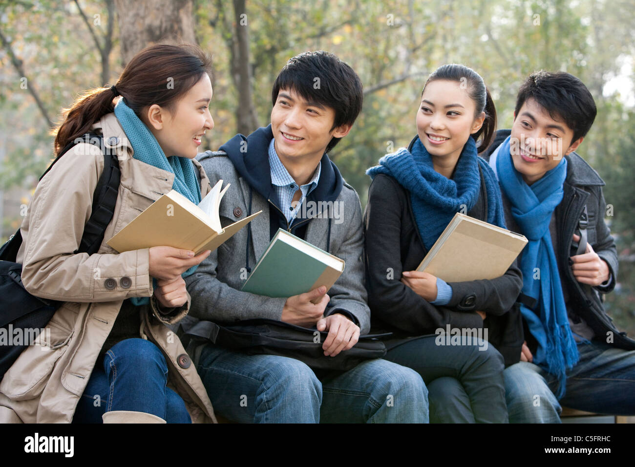a group of college students talking with each other stock photo