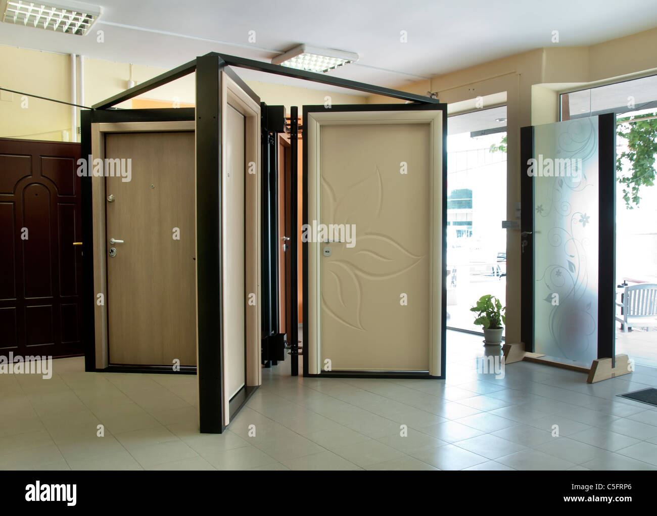 Doors shop and stillage. Sell doors - Stock Image & Architecture Structure Open House Door Doors Closed Stock Photos ...