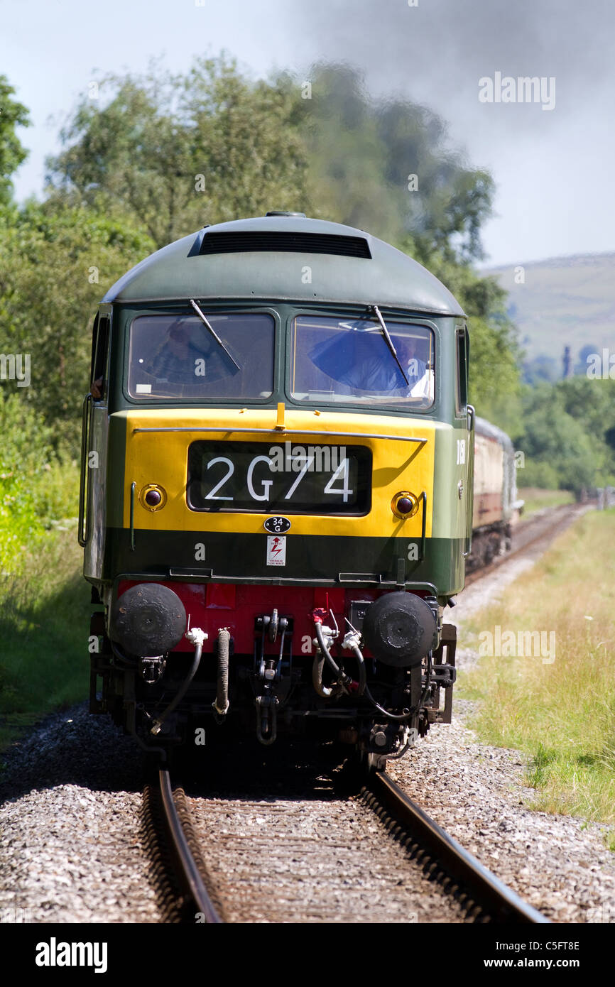 Yellow front-end of British Rail D1501 Diesel Locomotive East Lancs. Railway's Summer Diesel Gala on Sunday 3rd Stock Photo