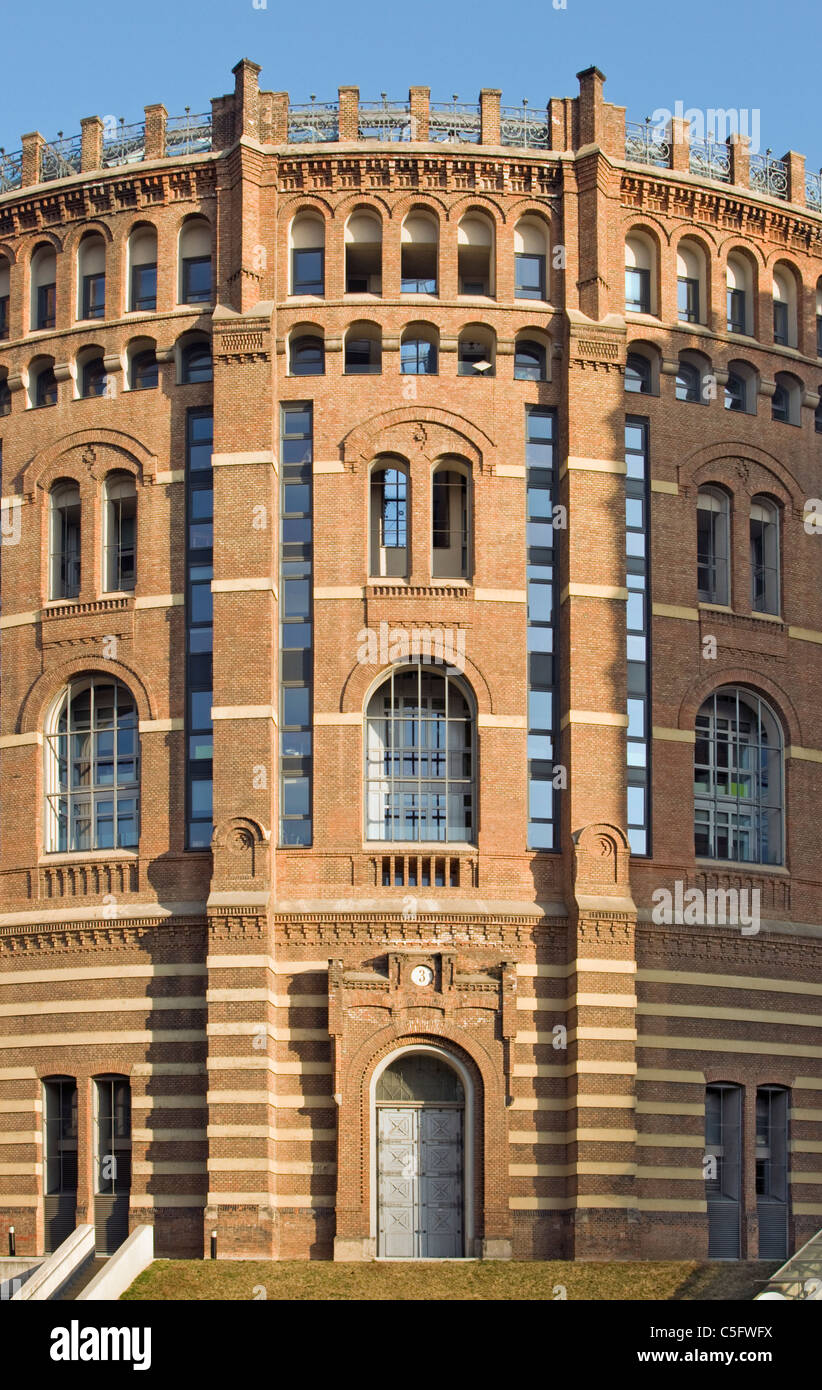 Facade of Remodelled Building of Gasometer (Former Gas Tank) in Simmering, Vienna (Wien), Austria - Stock Image