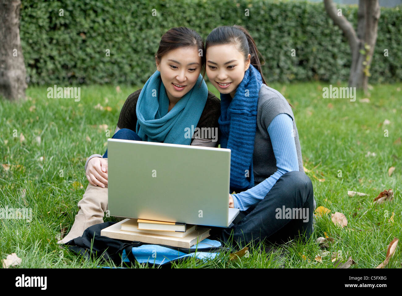 Two friends looking at a laptop while sitting outside in a grassy area - Stock Image